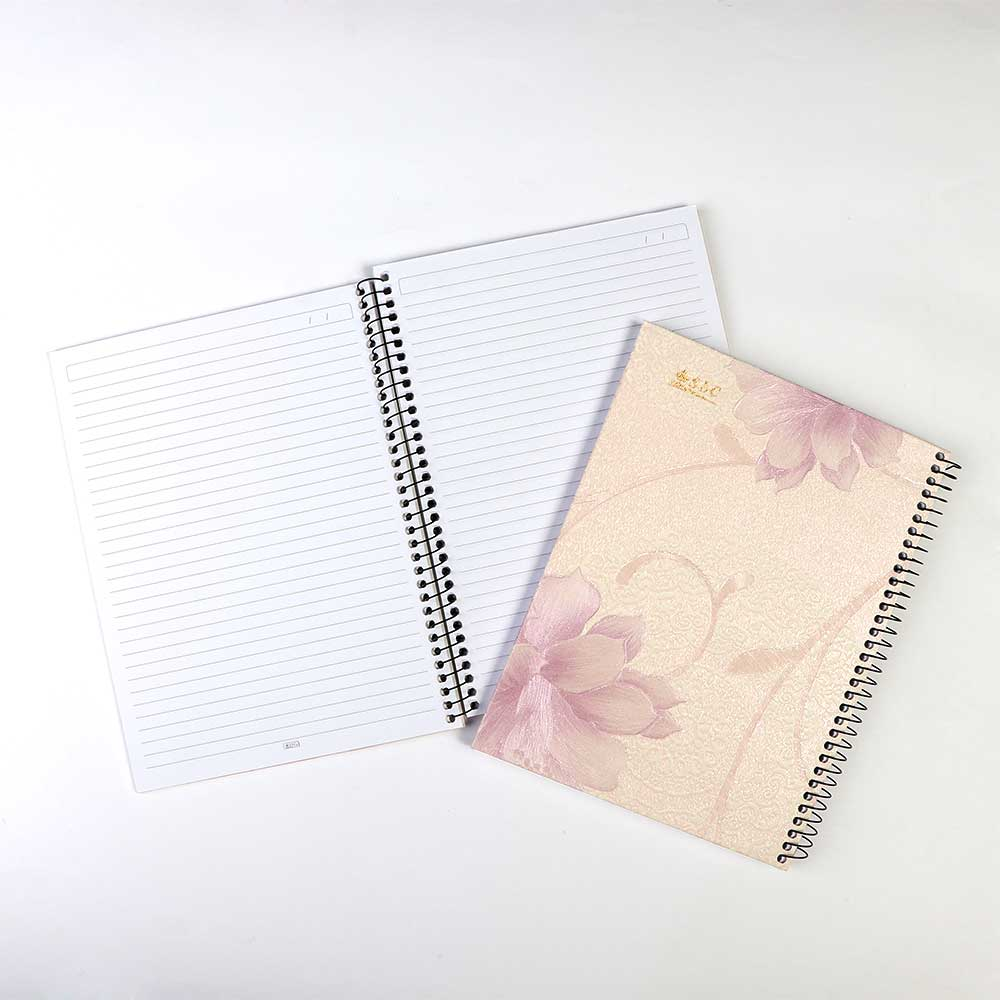 Natural Wire Notebook With 3 Breaks 100 Sheets A4 Purple Flowers For Women متجر 15 وأقل