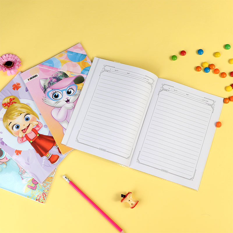 Arabic Notebook Ruler 80 Sheets For girl 2 Pcs With Different Cartoon Characters متجر 15 وأقل