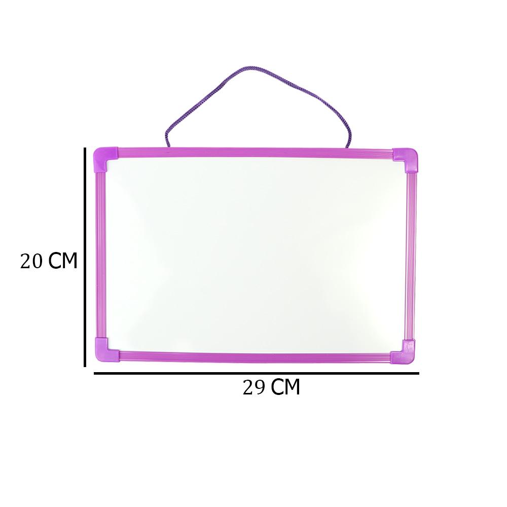 سبورة بلاستيك بوجهين عادي و مغناطيس صغيرة أبيض سادة مع قلم لون بنفسجي متجر 15 وأقل