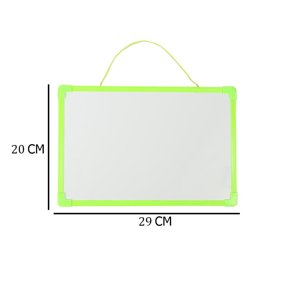 سبورة بلاستيك بوجهين عادي و مغناطيس صغيرة أبيض سادة مع قلم لون أخضر متجر 15 وأقل