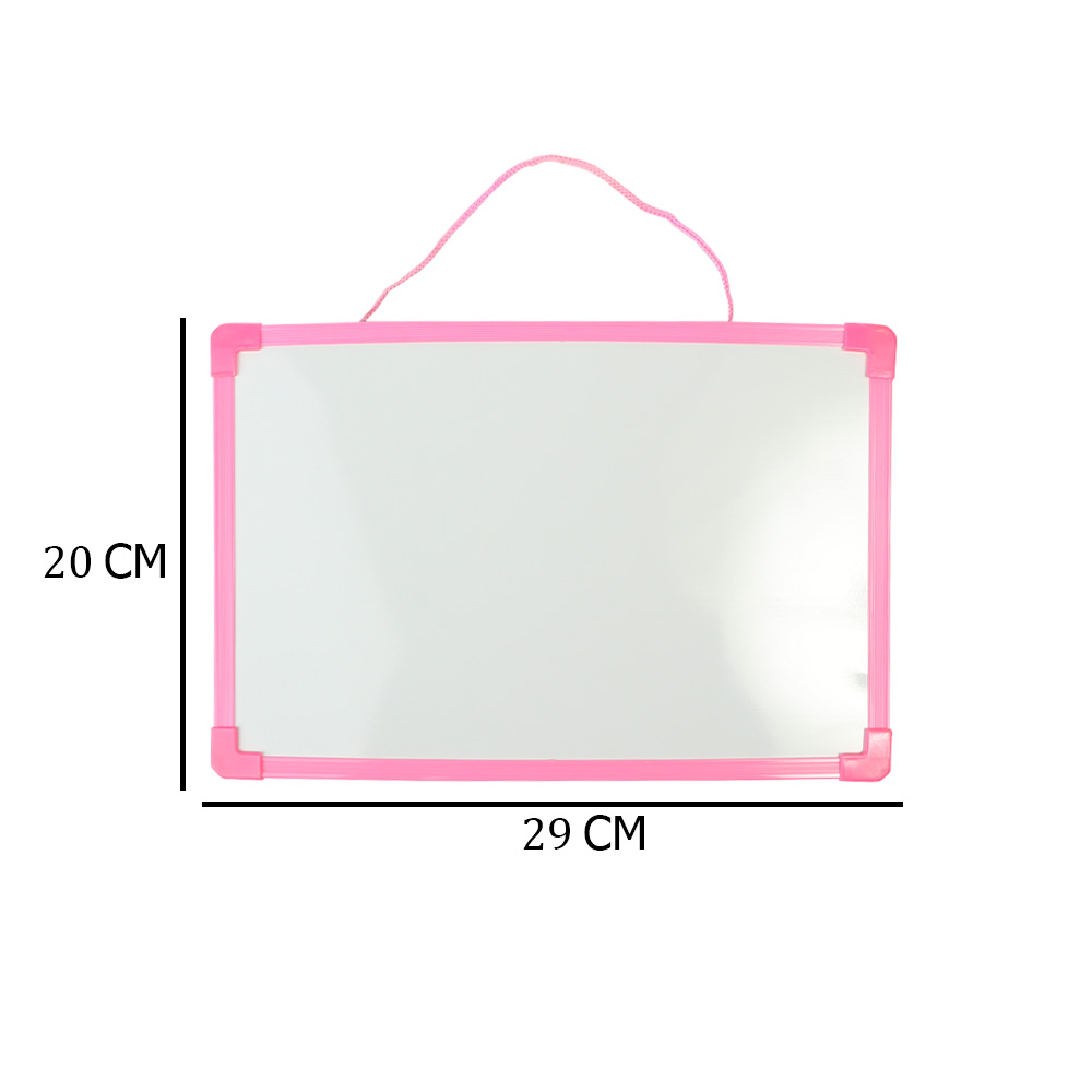 سبورة بلاستيك بوجهين عادي و مغناطيس صغيرة أبيض سادة مع قلم لون وردي متجر 15 وأقل
