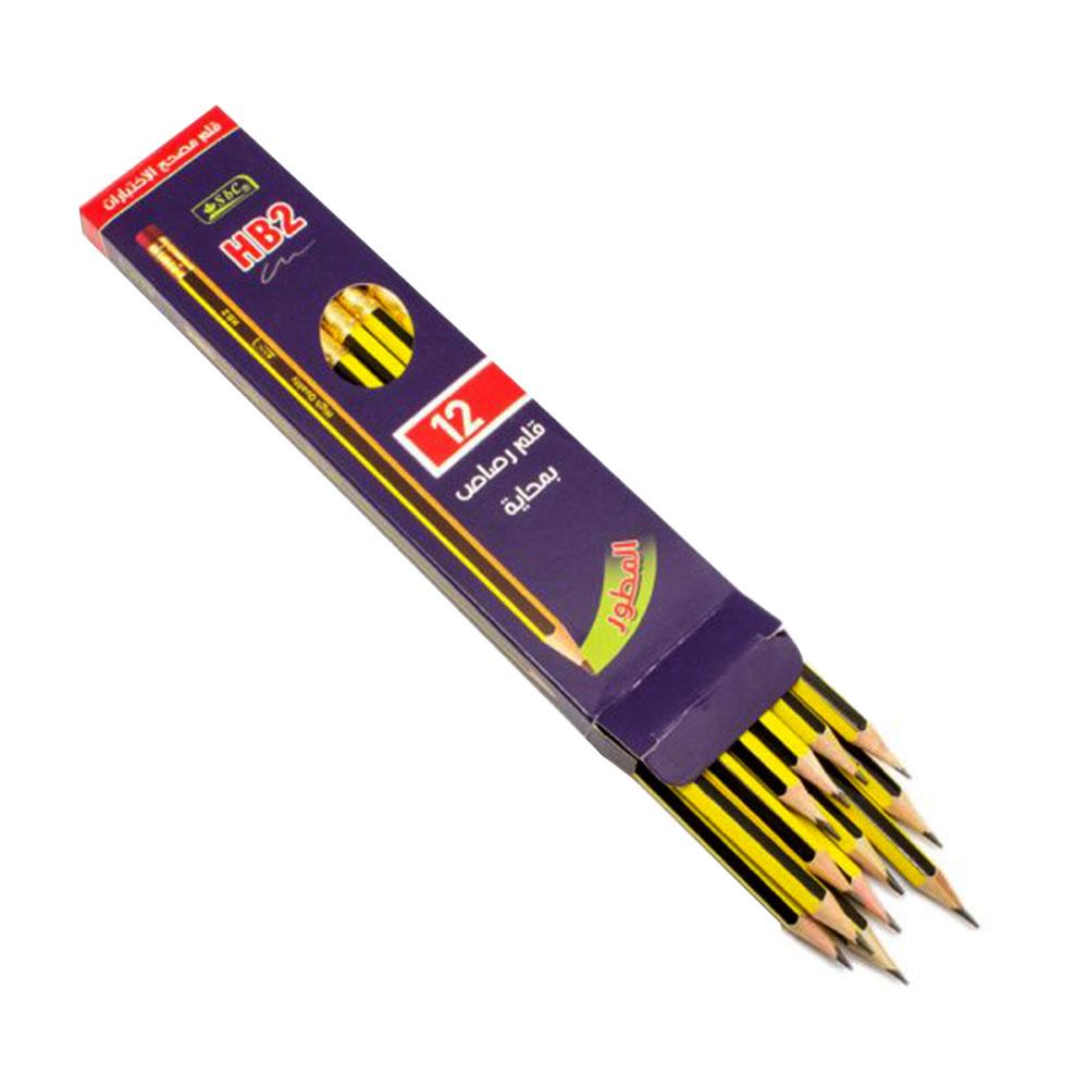 HB2 أقلام رصاص مزودة بممحاة مكونة من 12 قلم مصحح إلكتروني متجر 15 وأقل