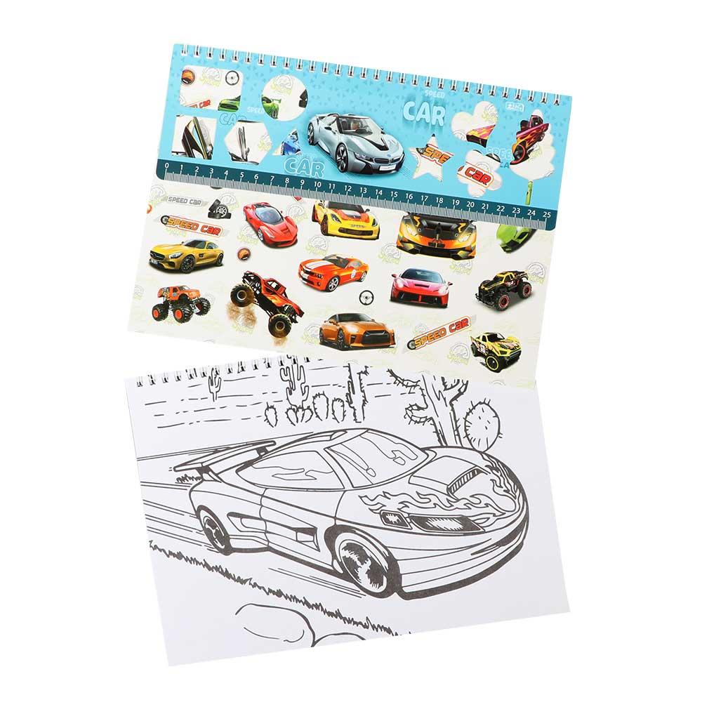 كراسة رسم مع مسطرة واستيكر أرسم ولون صغيرة ولادي شكل (سيارة) متجر 15 وأقل