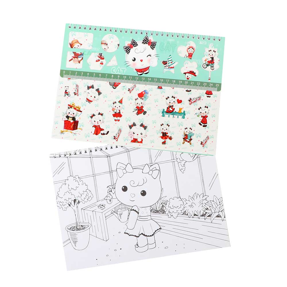Small Sketchbook With Ruler Sticker Draw And Color For Girl ( Cat )Shape متجر 15 وأقل