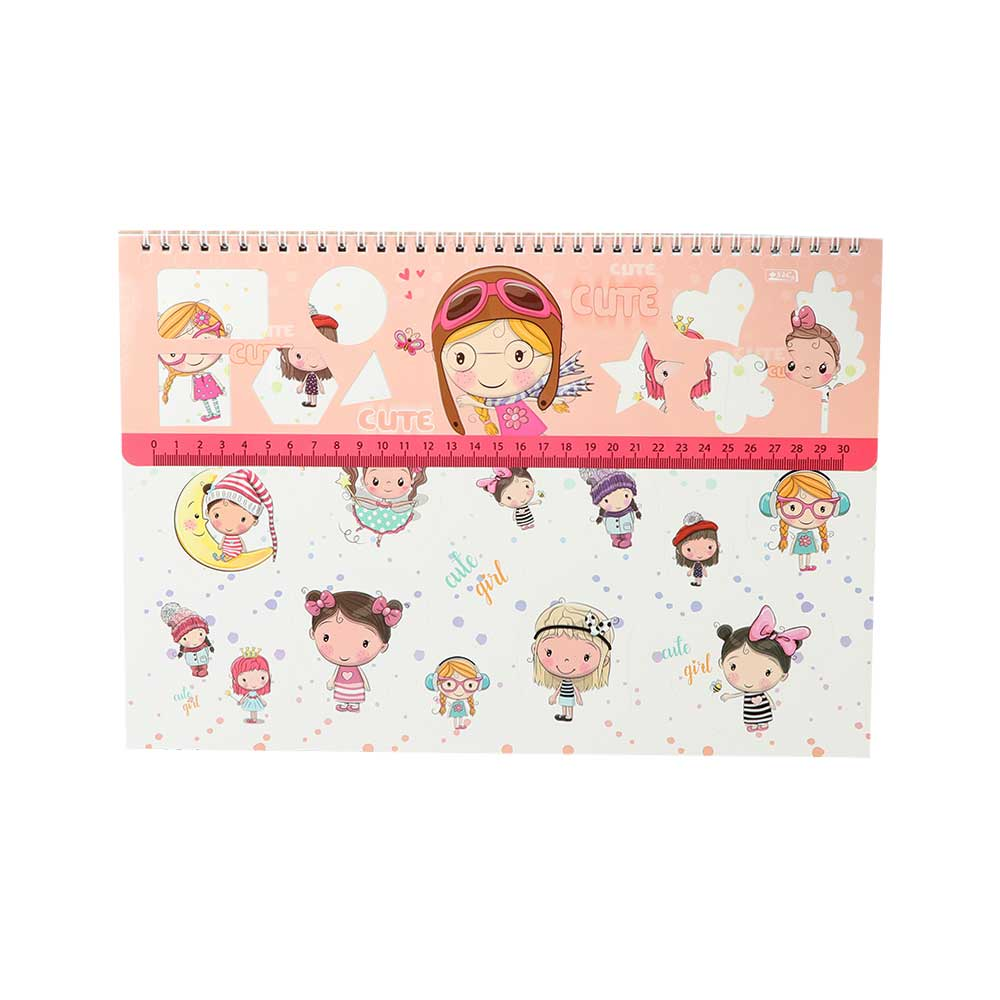 Big Sketchbook With Ruler Sticker Draw And Color For Girl ( Cute Girl )Shape متجر 15 وأقل
