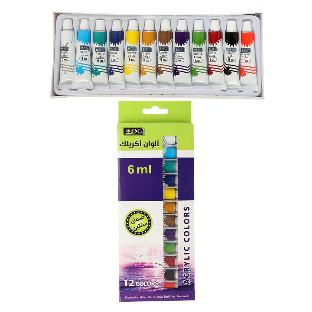 Acrylic Colors Painting Set With 6 mm 12 Pcs Multi Color متجر 15 وأقل
