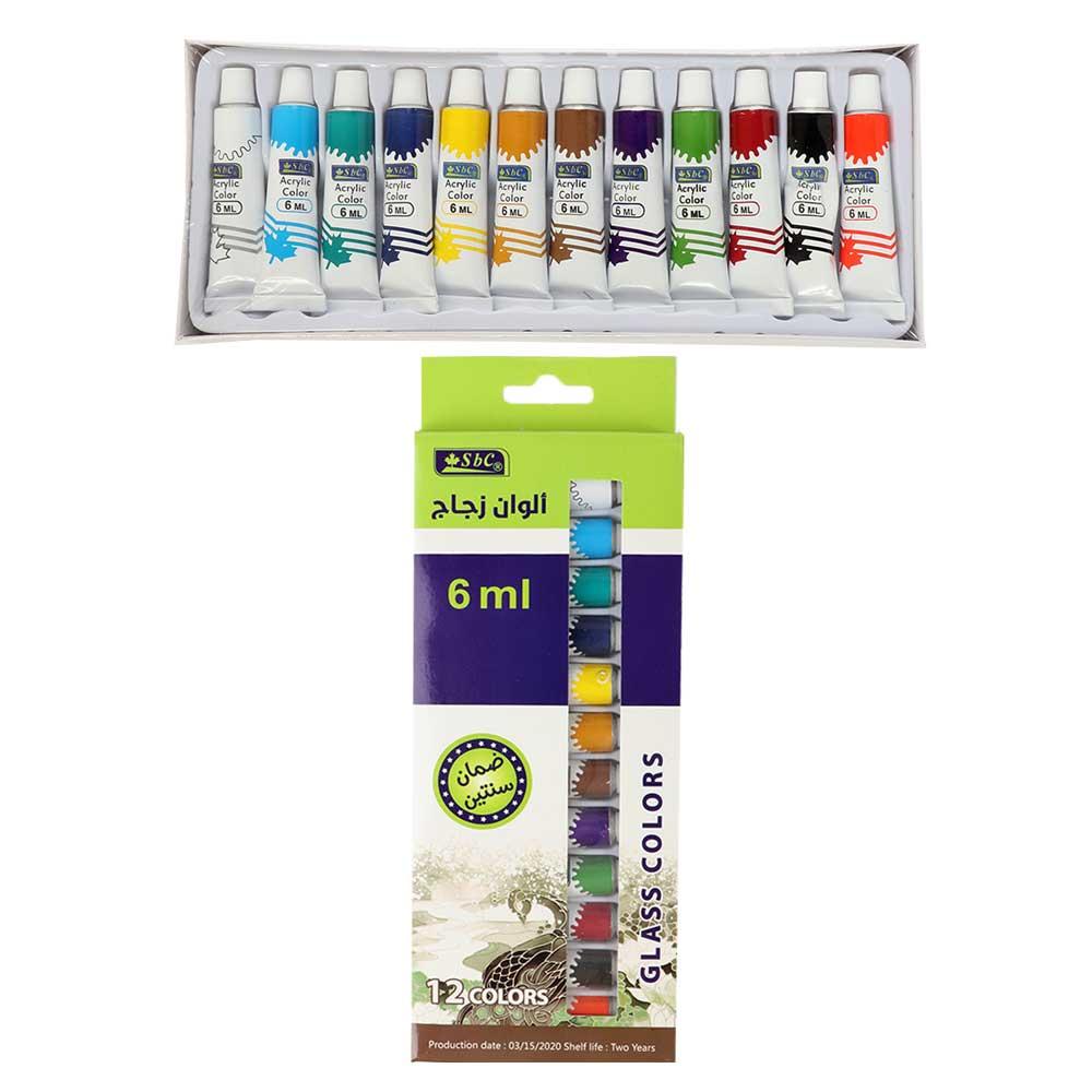 مجموعة الوان زجاج للرسم متعددة الألوان 6 ملم 12لون متجر 15 وأقل