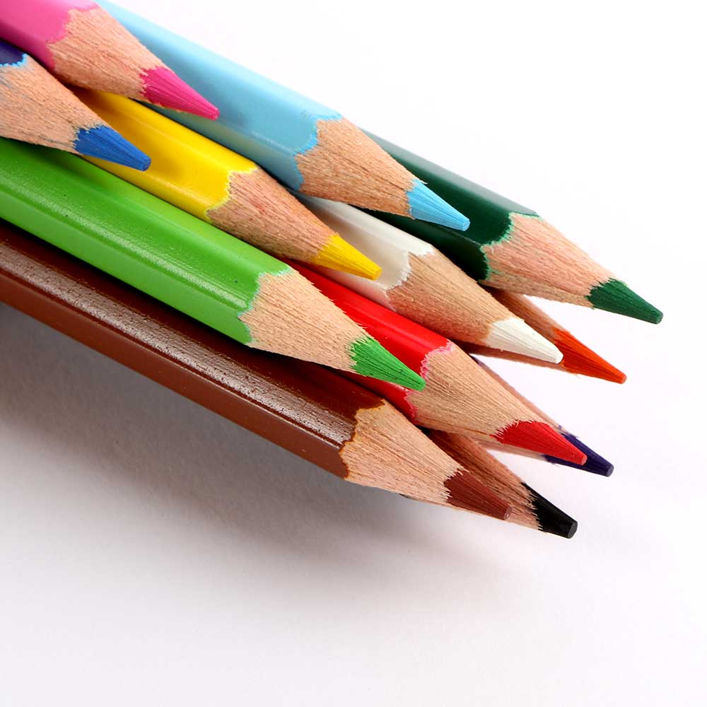 Set Of Multicolored Wooden Color Pencil With Green Cylindrical Box متجر 15 وأقل