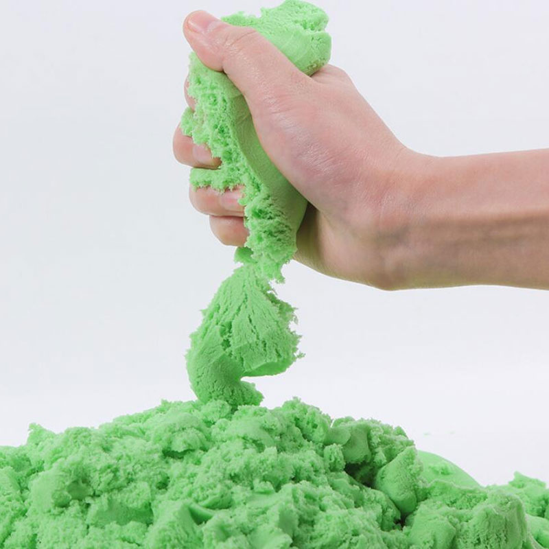 سطل رمل سحري قابل للضغط يضم 6 اشكال من أدوات التشكيل 500 جرام لون اخضر متجر 15 وأقل