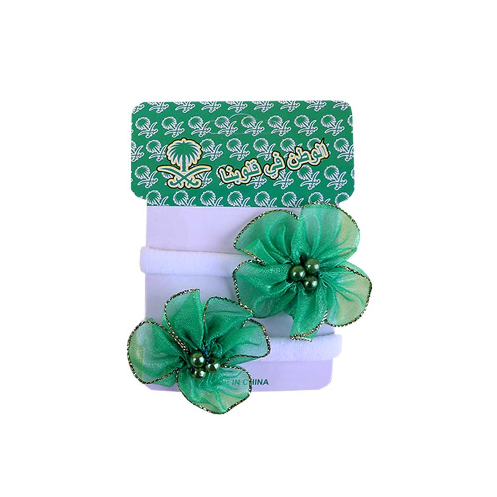 National Day Hairband Is Flexible In The Form Of Rose Made Of 2 Pieces Green متجر 15 وأقل