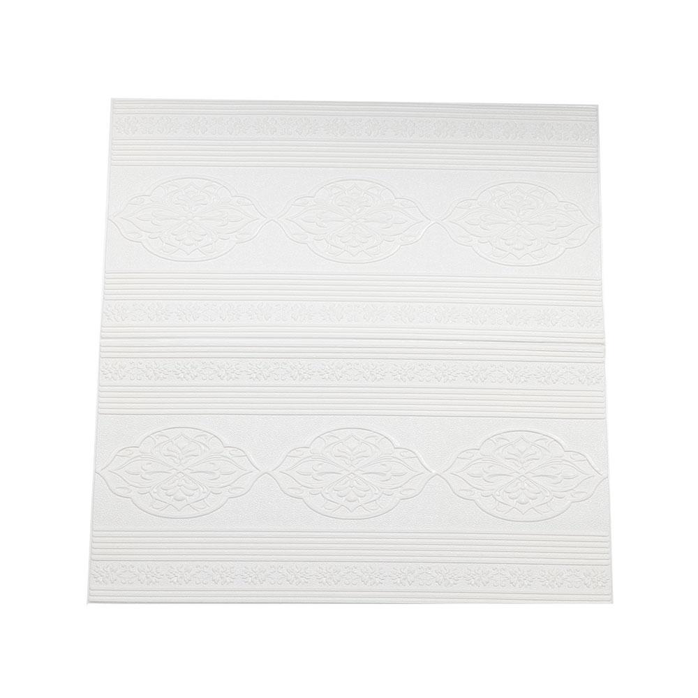 ورق جدران (حائط) ثلاثي الأبعاد ذاتي اللصق بنمط مزخرف ابيض -قطعة متجر 15 وأقل
