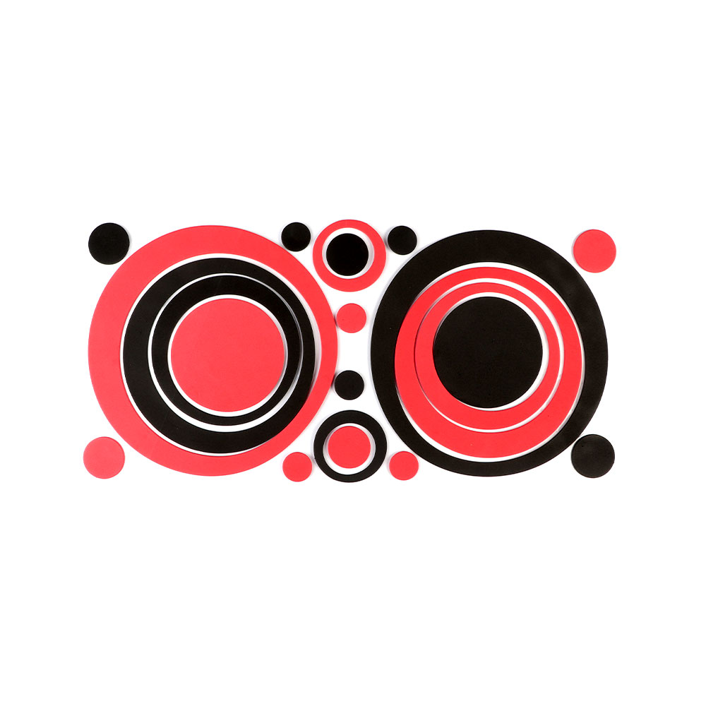 Smart Walls Stickers With Black And Red Circle Design متجر 15 وأقل