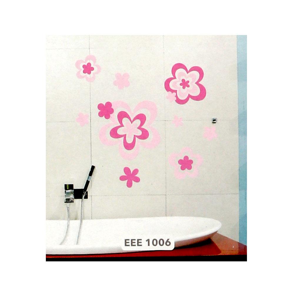 ملصق جداري انيق بارز بتصميم ورود بنفسجي و وردي متجر 15 وأقل