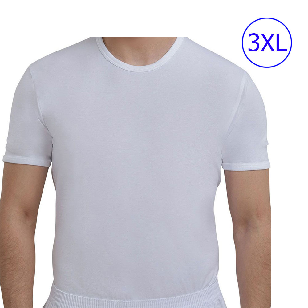 White Cotton Undershirt for adults With Half Sleeve And Size ( 3xL) متجر 15 وأقل