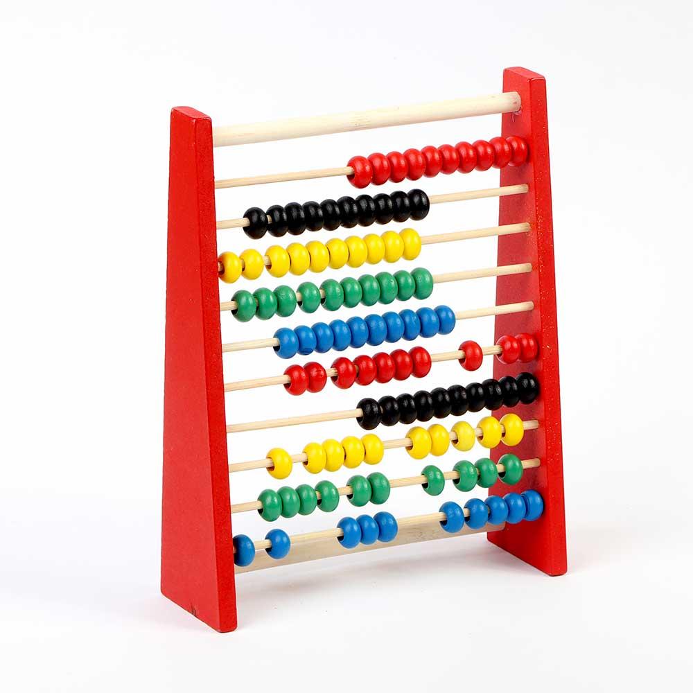 عداد خشبي صغير مميز لتعليم الأطفال الحساب والألوان لون أحمر متجر 15 وأقل