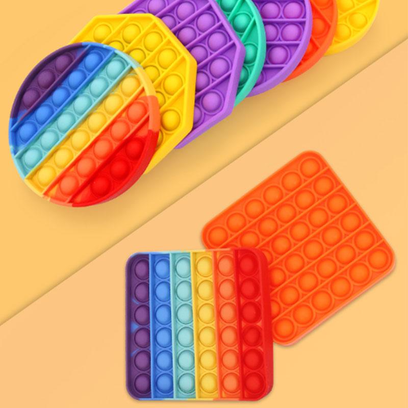 لعبة الحسية للإسترخاء و لتخفيف التوتر من السيليكون مربع بألوان قوس قزح متجر 15 وأقل