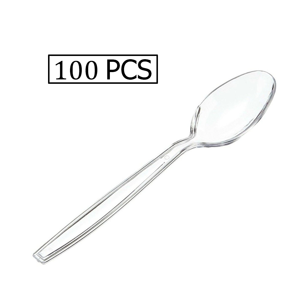 A Small Clear Plastic Spoons Made in Thailand With high quality 100 pieces متجر 15 وأقل