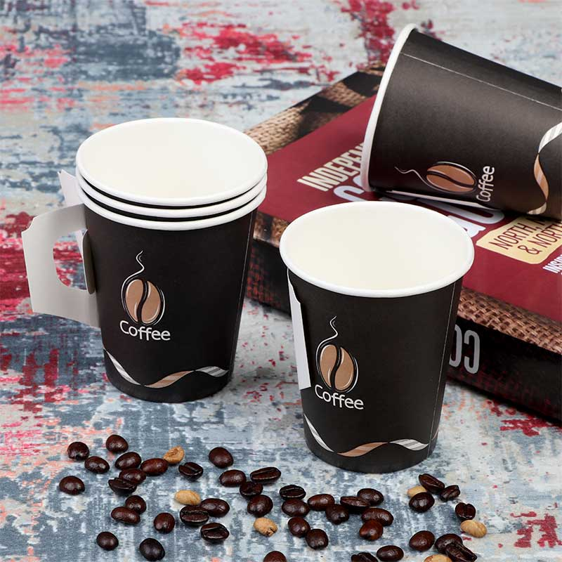 Paper Cup For Coffee And Tea 9oz With Handle 72Pcs Dark Brown متجر 15 وأقل