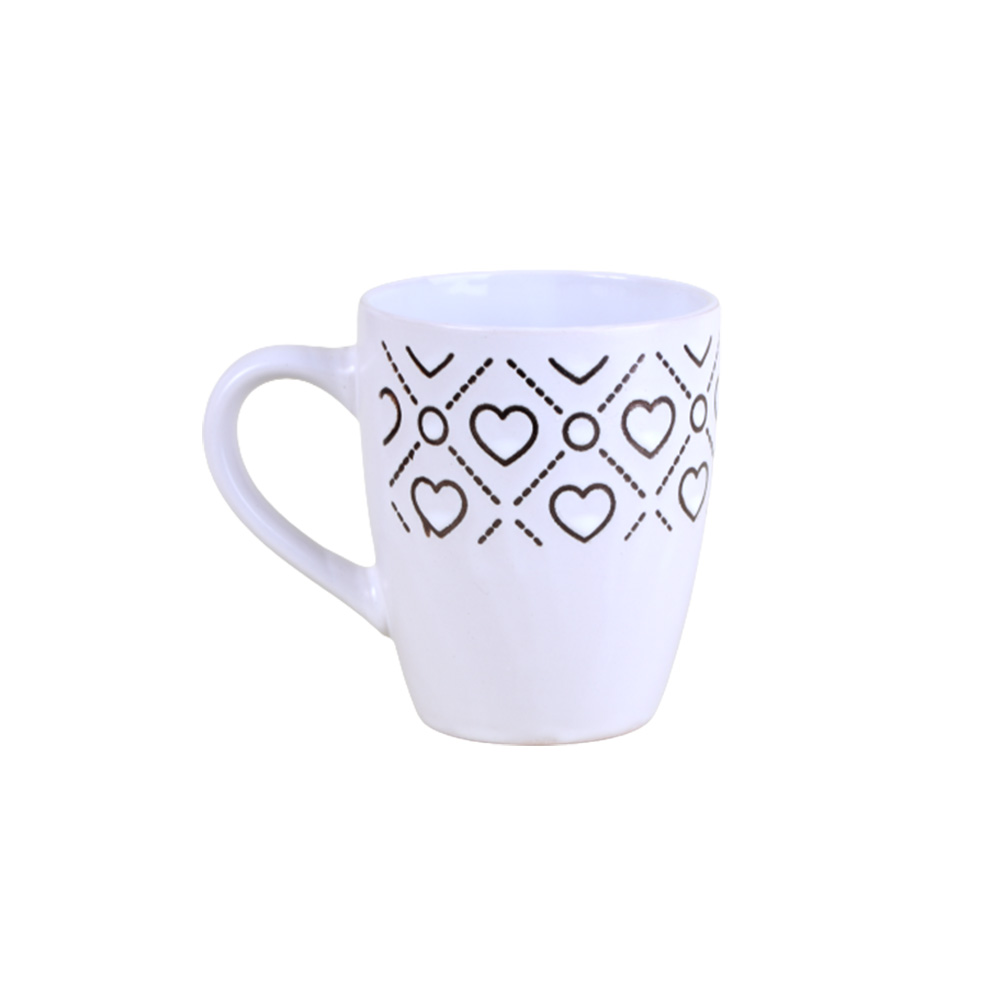 Ceramic cup - white med decorated with heart pattern 300ML متجر 15 وأقل