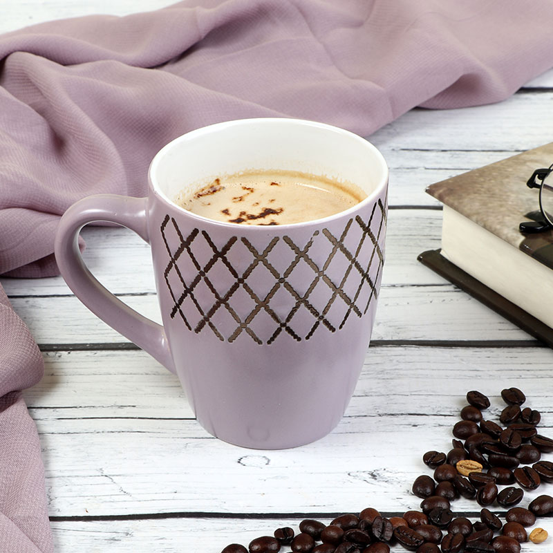 Ceramic Cup - Purple Cup Decorated With Geometric Pattern 300ML متجر 15 وأقل