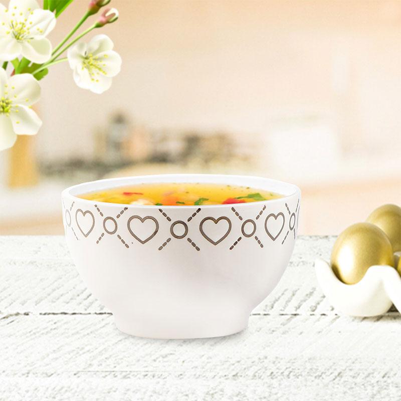 Deep Circular Dish - White Bowl Decorated With Hearts متجر 15 وأقل
