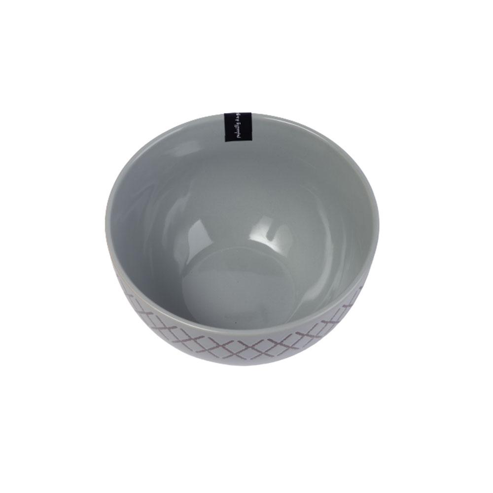 Deep Circular Dish - Grey Bowl Decorated With Geometric Pattern متجر 15 وأقل