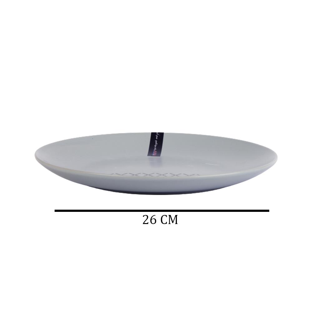 Large-sized Ceramic Dish - Grey With Geometric Pattern متجر 15 وأقل