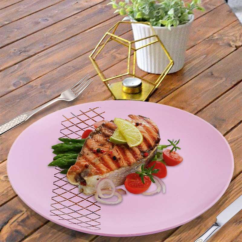 Large-sized Ceramic Dish - Purple With Geometric Pattern متجر 15 وأقل