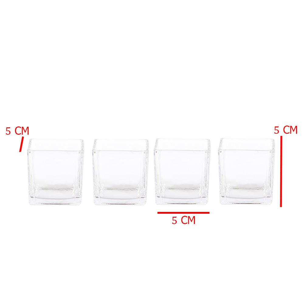 وعاء زجاجي مربع متعدد الاستخدام مكون من 4 قطع بحجم 5 × 5 سم متجر 15 وأقل