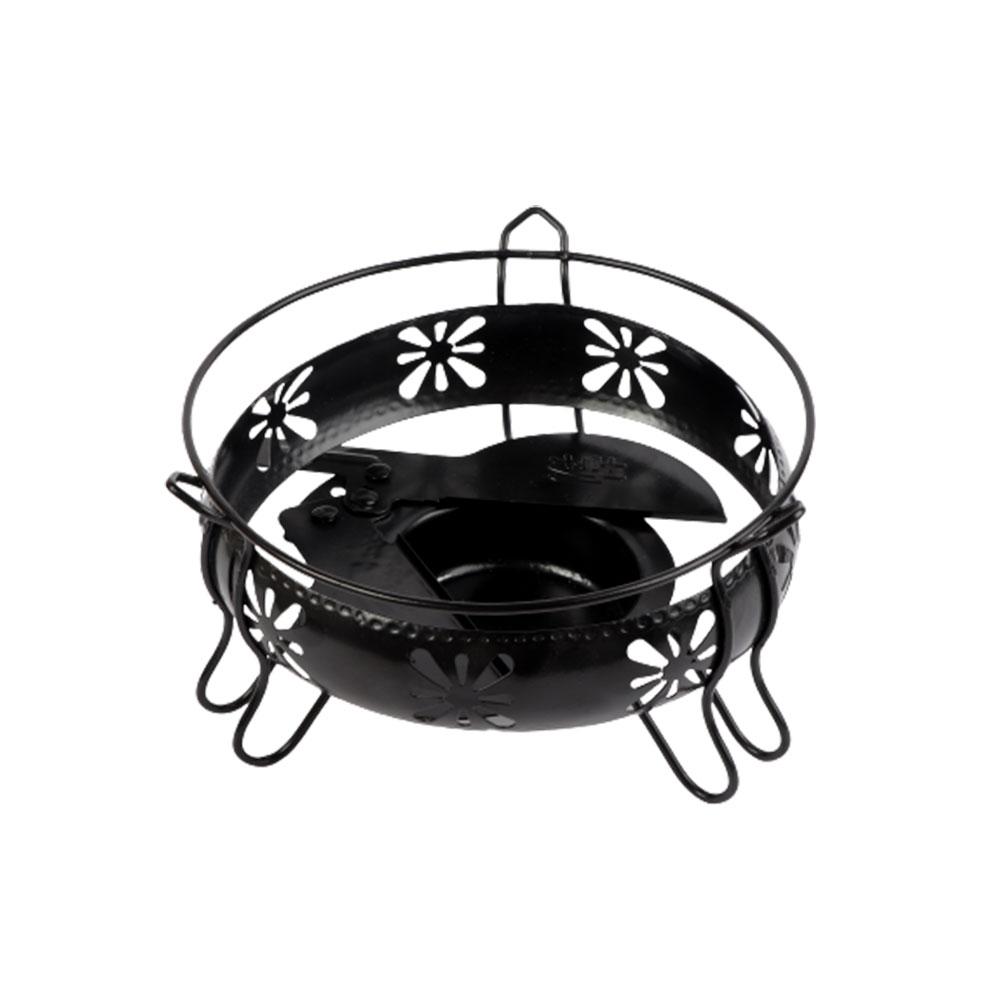 سخان شمع حديد دائري لحفظ الأطباق ساخنة وسط لون أسود متجر 15 وأقل