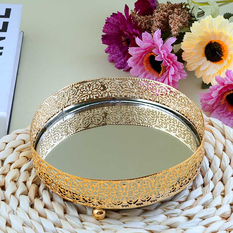 Small Round Gold Serving Plate With Reflective Mirror Smart Decoration 12.5×12.5 cm متجر 15 وأقل