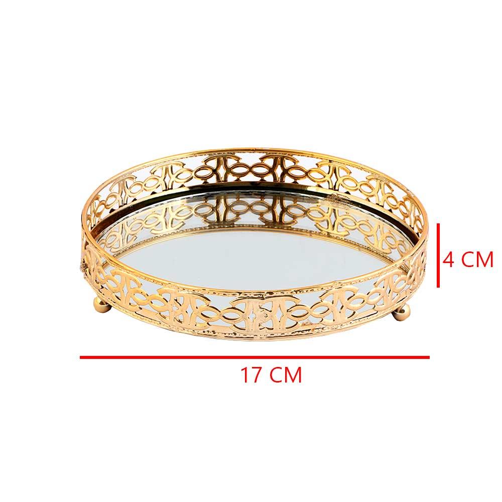 صحن تقديم ذهبي دائري مزود بمراءة عاكسة بزخارف أنيقة كبير 17×17سم متجر 15 وأقل