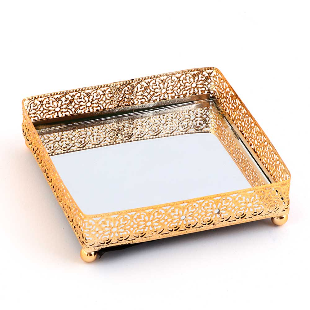 Square Gold Serving Plate Small With Reflective Mirror Smart Decoration 13×13 cm متجر 15 وأقل
