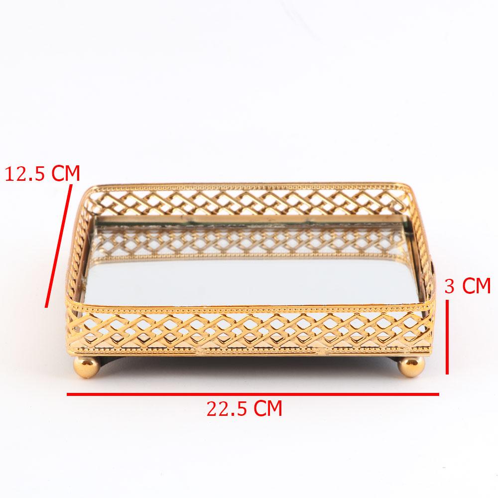 صحن تقديم ذهبي مستطيل مزود بمراءة عاكسة بزخارف هندسية كبير 22.5 × 12.5 سم متجر 15 وأقل