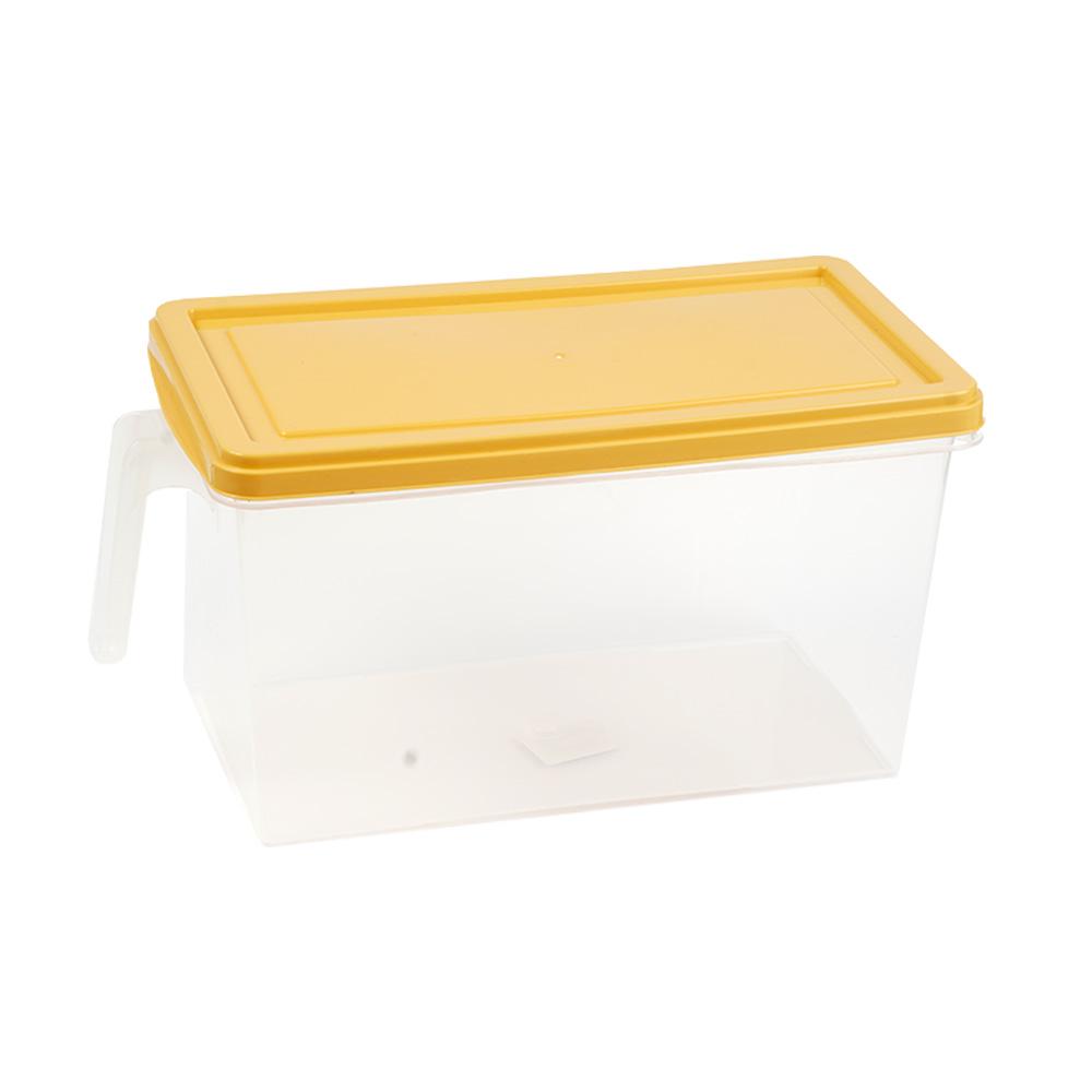 منظم طعام - علبة تخزين فواكه وخضار للثلاجة بغطاء أصفر مستطيل بحجم كبير 27×14×15 سم متجر 15 وأقل