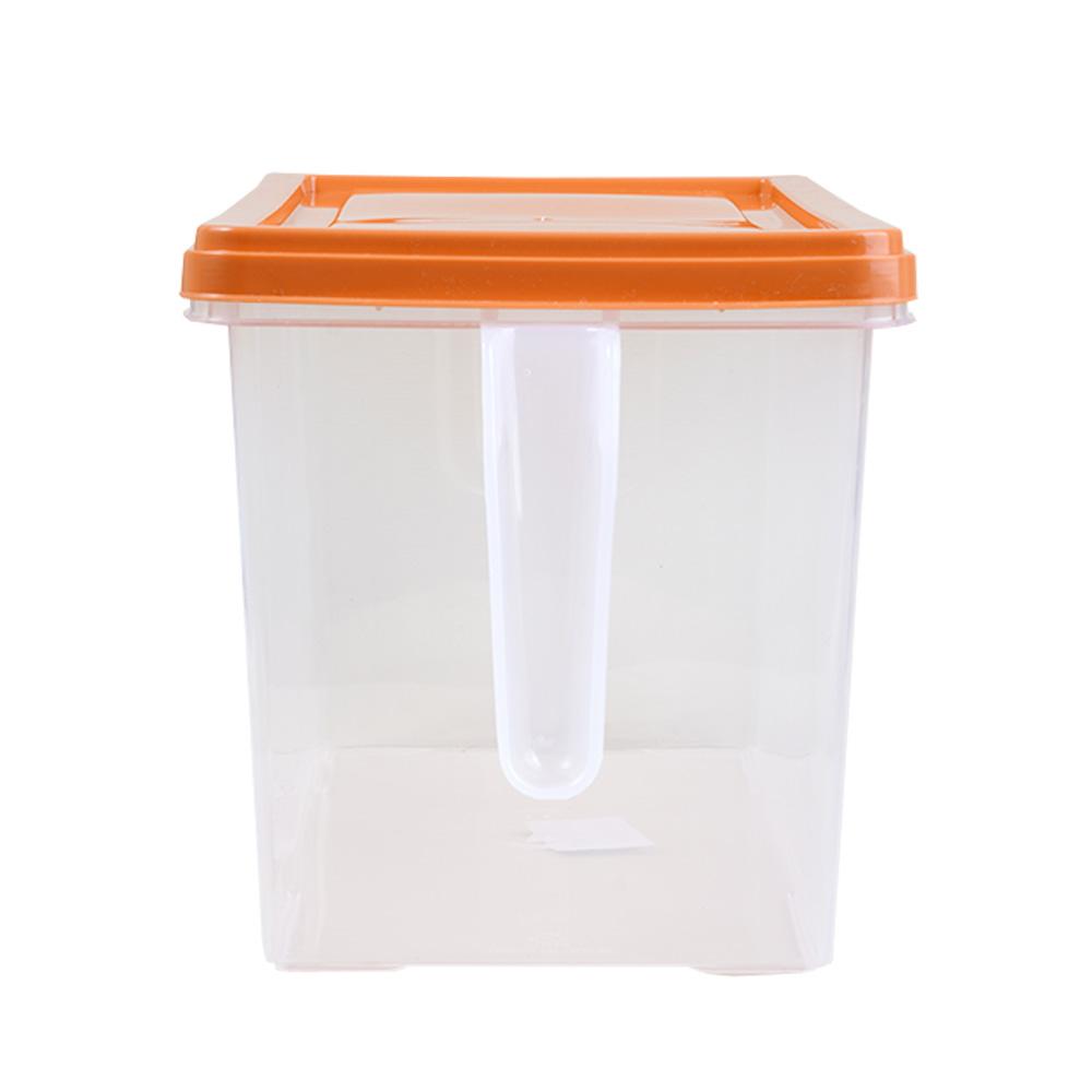 منظم طعام - علبة تخزين فواكه وخضار للثلاجة بغطاء برتقالي مستطيل بحجم كبير 27×14×15 سم متجر 15 وأقل
