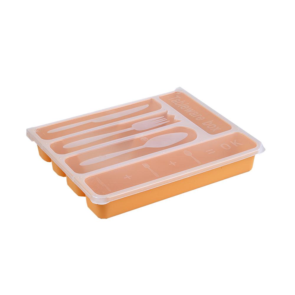 منظم - مقسم لأدوات الطعام بلاستيك مستطيل برتقالي ذو غطاء شفاف 24×29سم متجر 15 وأقل