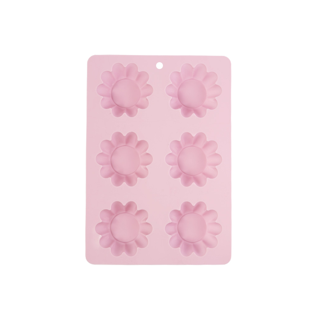 Cake - Cup Cake Mold Silicon With Roses Design Consists 6 Places Pink متجر 15 وأقل