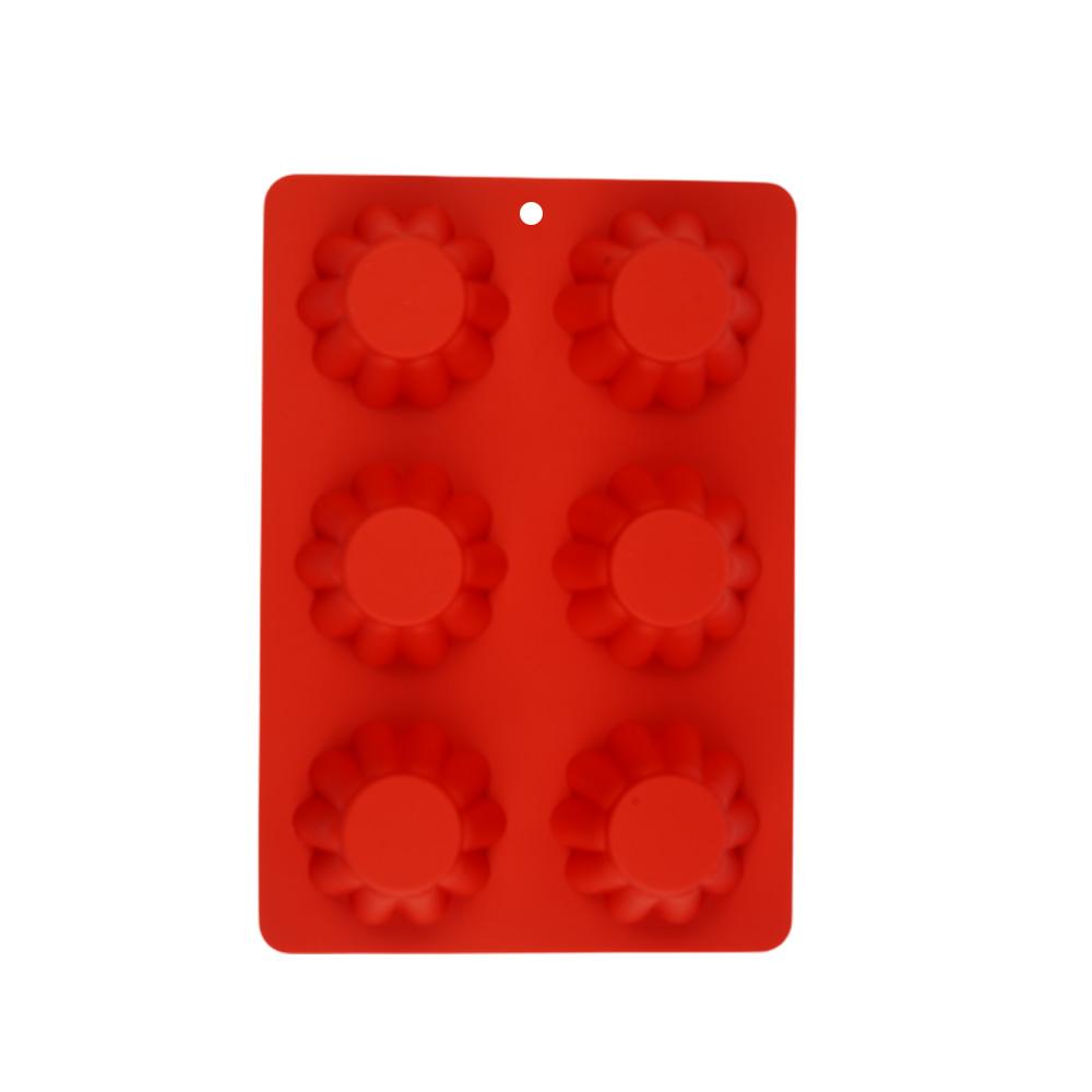 قالب كيك -كاب كيك سيليكون بتصميم شبه ورود مكون من 6 خانات أحمر متجر 15 وأقل