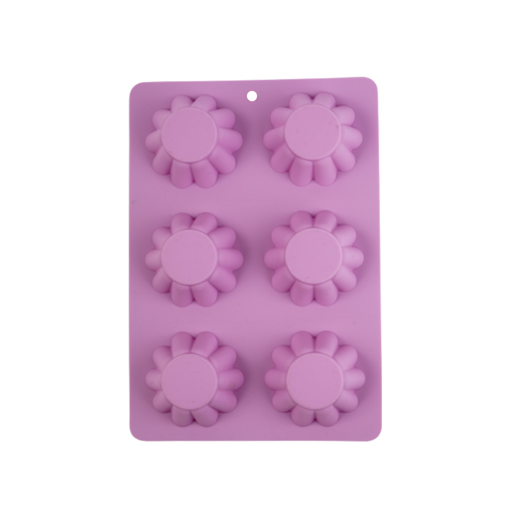 Cake - Cup Cake Mold Silicon With Roses Design Consists 6 Places Purple متجر 15 وأقل