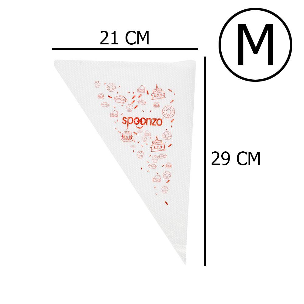 أكياس تزيين للكيك من البلاستيك مقاس وسط M من 100 قطعة أبيض متجر 15 وأقل