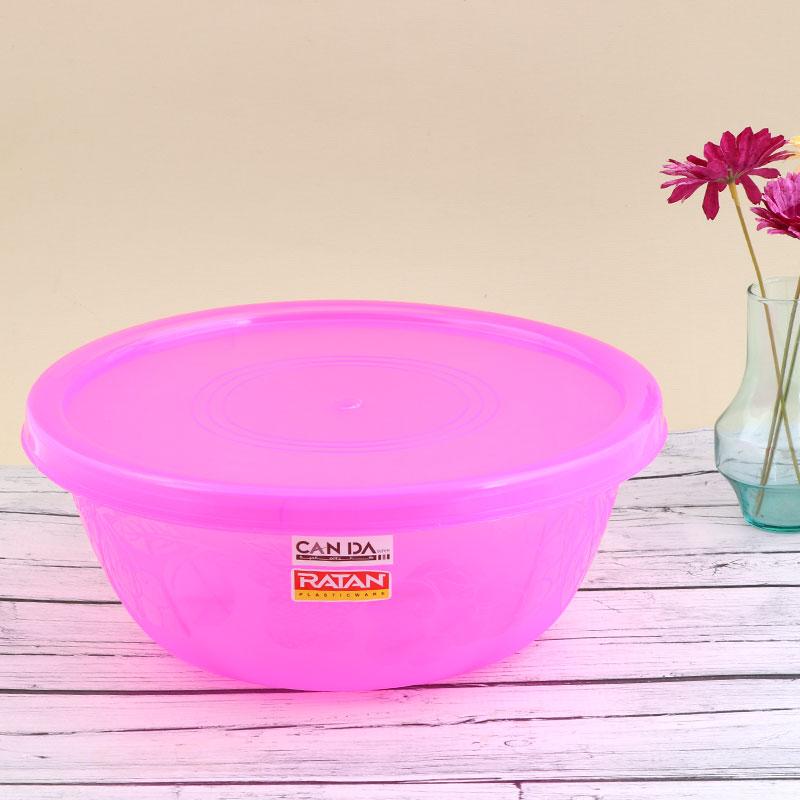 وعاء بلاستيكي لخبز وحفظ العجين بغطاء قابل للغلق - وردي متجر 15 وأقل