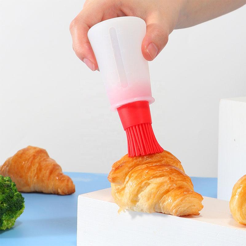 فرشاة زيت سيلكون مزودة بوعاء بلاستيكي شفاف لوضع الزيت 60 ملم لون أحمر متجر 15 وأقل