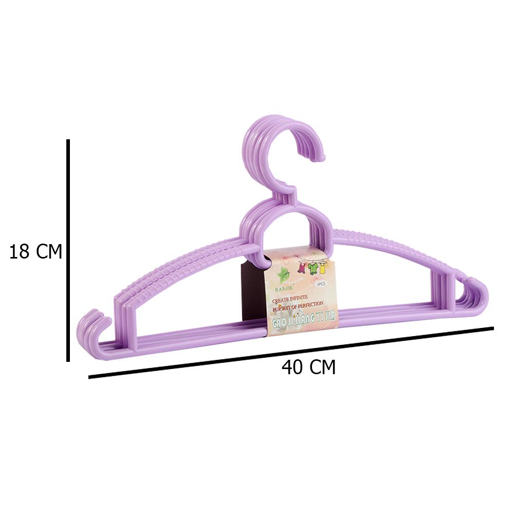 طقم علاقة ملابس بلاستيك مكونه من 5 قطع بنفسجي متجر 15 وأقل