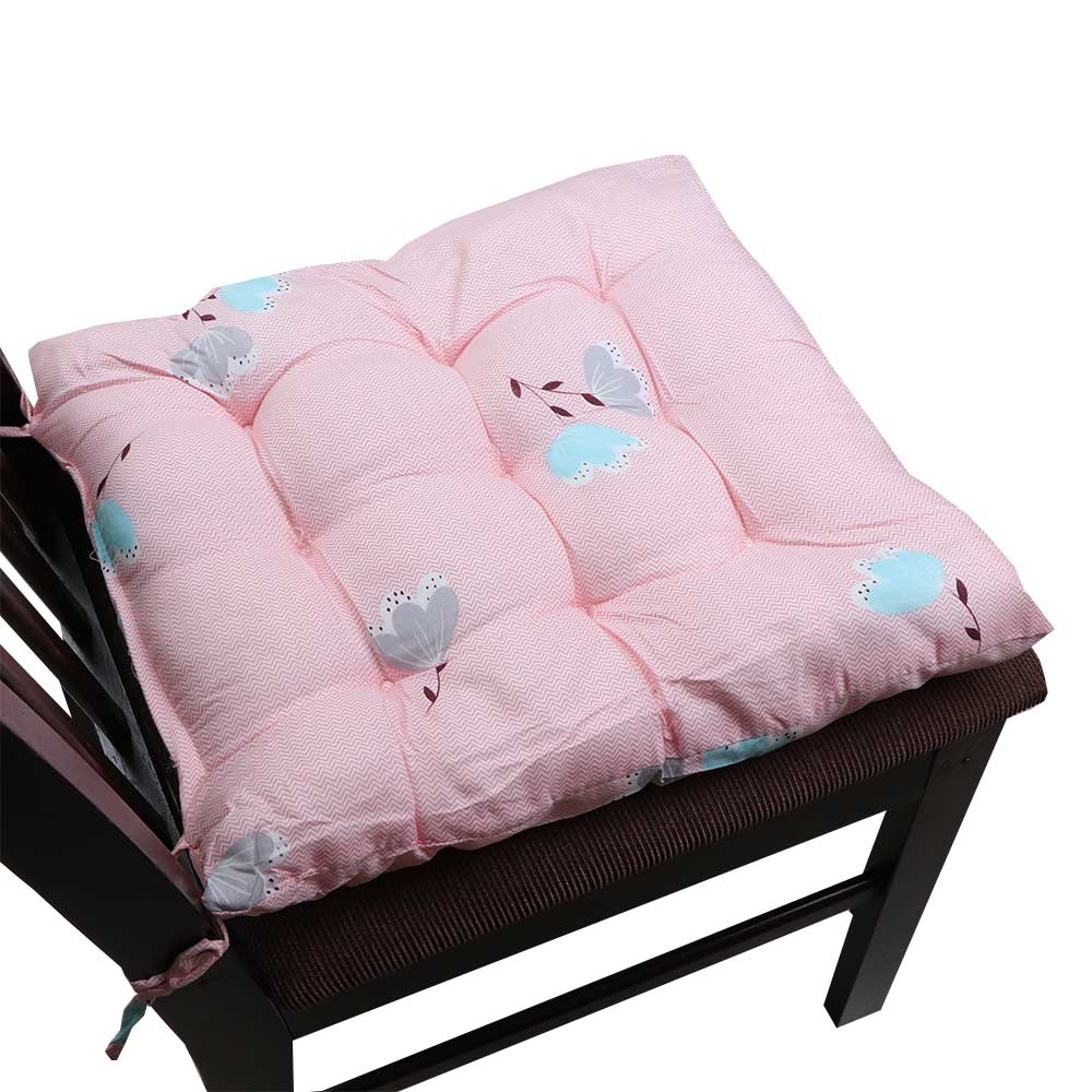 Soft Chair Cushion With Attractive Square Design With Roses Drawings Pink متجر 15 وأقل