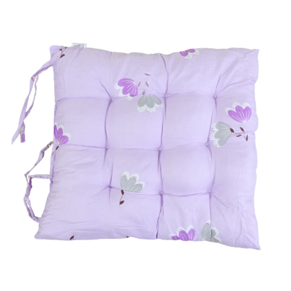 Soft Chair Cushion With Attractive Square Design With Roses Drawings Purple متجر 15 وأقل