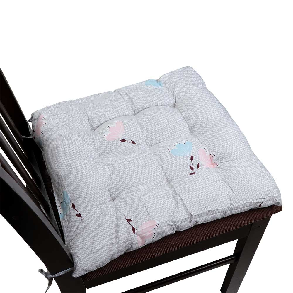 Soft Chair Cushion With Attractive Square Design With Roses Drawings Gray متجر 15 وأقل