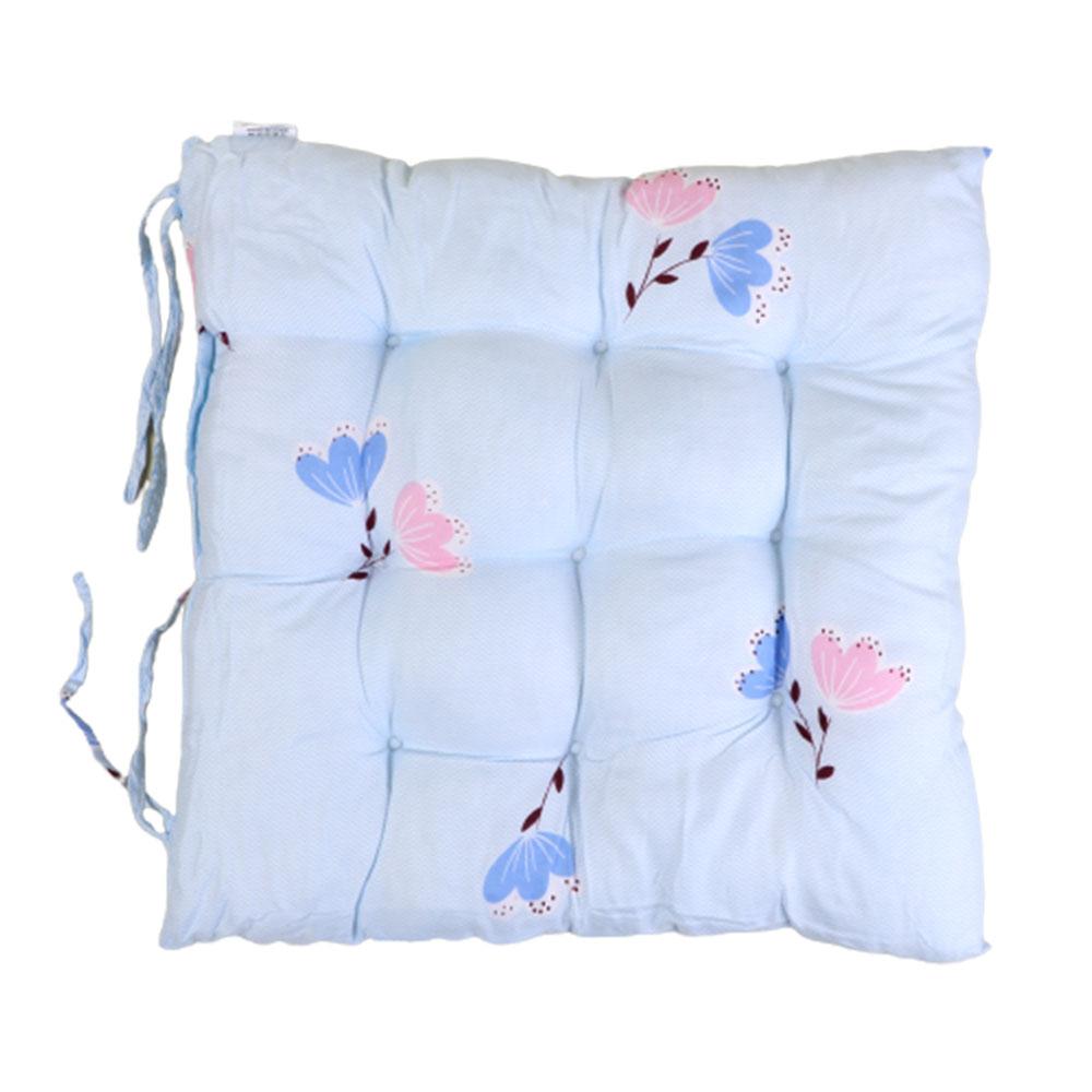 وسادة - خدادية كرسي لينة بتصميم جذاب مربعة الشكل برسوم أزهار لون أزرق متجر 15 وأقل