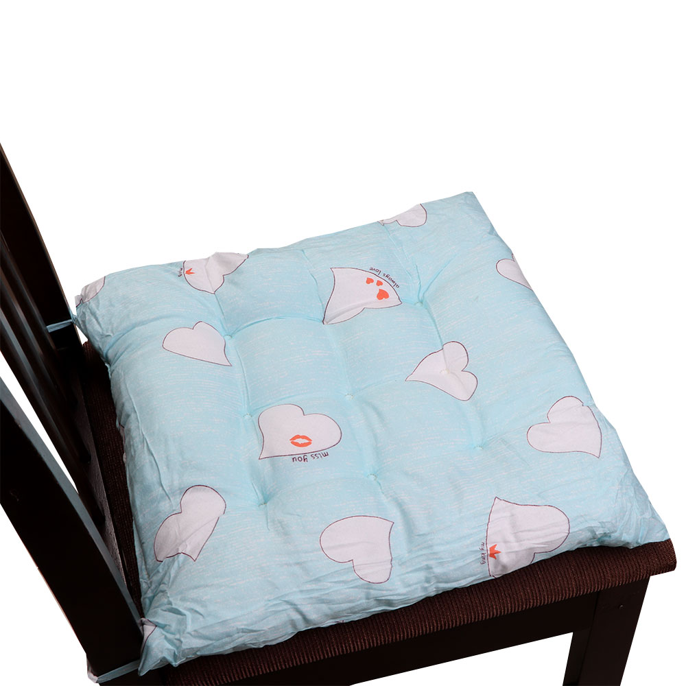 Soft Chair Cushion With Attractive Square Design With Hearts Drawings light Blue متجر 15 وأقل