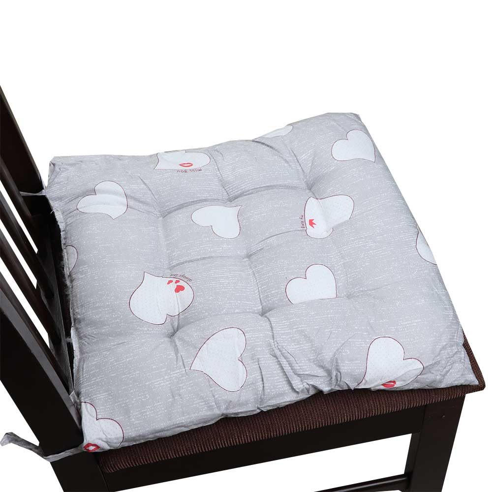 Soft Chair Cushion With Attractive Square Design With Hearts Drawings Gray متجر 15 وأقل